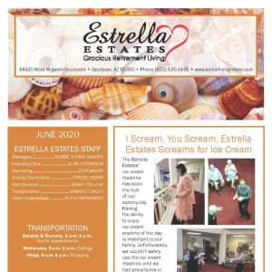 June newsletter at Estrella Estates Gracious Retirement Living in Goodyear, Arizona
