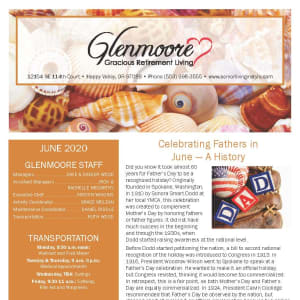 June newsletter at Glenmoore Gracious Retirement Living in Happy Valley, Oregon