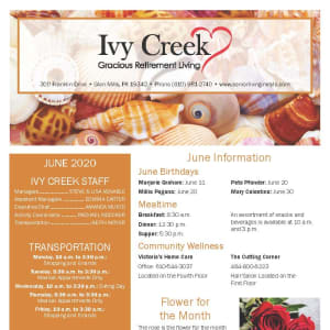 June newsletter at Ivy Creek Gracious Retirement Living in Glen Mills, Pennsylvania