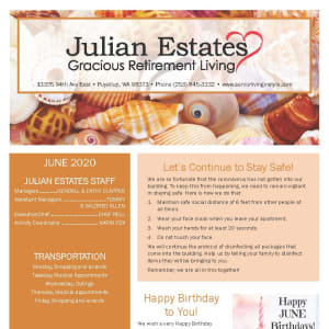 June newsletter at Julian Estates Gracious Retirement Living in Puyallup, Washington