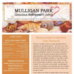 June newsletter at Mulligan Park Gracious Retirement Living in Tallahassee, Florida