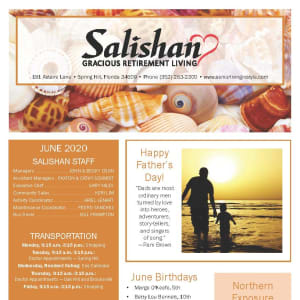 June newsletter at Salishan Gracious Retirement Living in Spring Hill, Florida