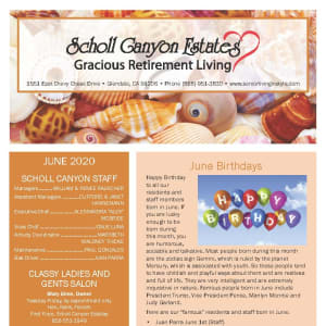 June newsletter at Scholl Canyon Estates in Glendale, California