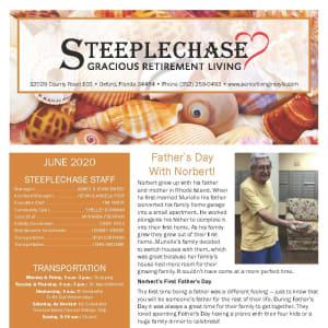 June newsletter at Steeplechase Retirement Residence in Oxford, Florida
