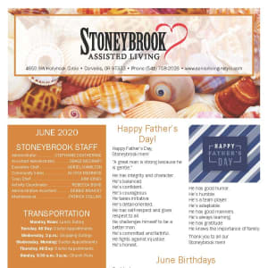 June newsletter at Stoneybrook Assisted Living in Corvallis, Oregon