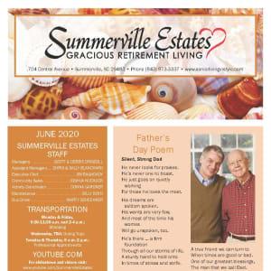 June newsletter at Summerville Estates Gracious Retirement Living in Summerville, South Carolina