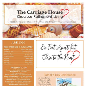 June newsletter at The Carriage House Gracious Retirement Living in Oxford, Florida