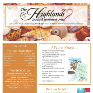 June newsletter at The Highlands Gracious Retirement Living in Westborough, Massachusetts