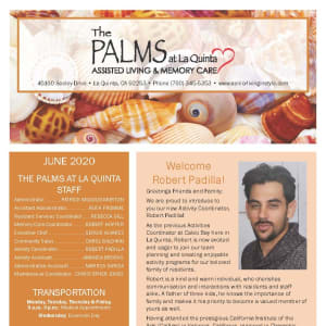 June newsletter at The Palms at La Quinta Assisted Living and Memory Care in La Quinta, California