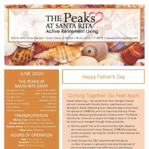 June newsletter at The Peaks at Santa Rita in Green Valley, Arizona