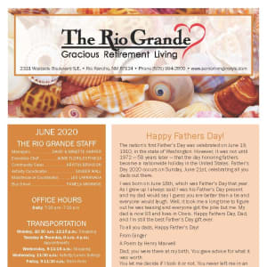 June newsletter at The Rio Grande Gracious Retirement Living in Rio Rancho, New Mexico