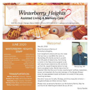 June newsletter at Winterberry Heights Assisted Living and Memory Care in Bangor, Maine