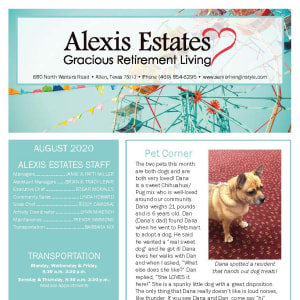 August newsletter at Alexis Estates Gracious Retirement Living in Allen, Texas