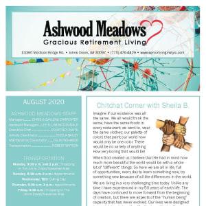 August Ashwood Meadows Gracious Retirement Living newsletter
