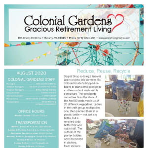 August Colonial Gardens Gracious Retirement Living newsletter