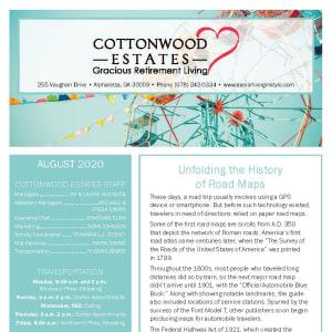 August Cottonwood Estates Gracious Retirement Living Newsletter