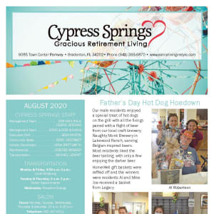 August Cypress Springs Gracious Retirement Living Newsletter