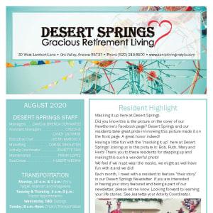 August Desert Springs Gracious Retirement Living Newsletter