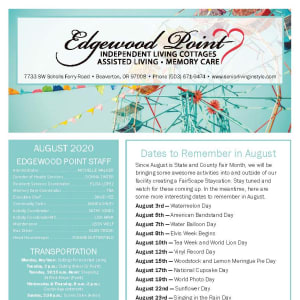 August Edgewood Point Assisted Living Newsletter