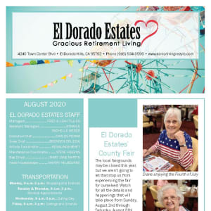August El Dorado Estates Gracious Retirement Living Newsletter