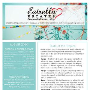 August Estrella Estates Gracious Retirement Living newsletter