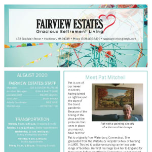 August Fairview Estates Gracious Retirement Living newsletter