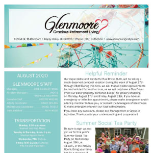 August Glenmoore Gracious Retirement Living Newsletter