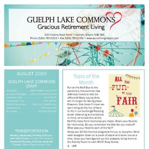 August Guelph Lake Commons newsletter