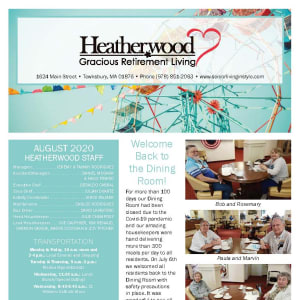 August Heatherwood Gracious Retirement Living Newsletter