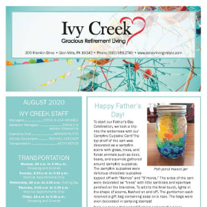 August Ivy Creek Gracious Retirement Living newsletter