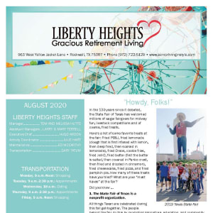 August Liberty Heights Gracious Retirement Living newsletter