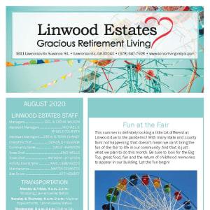 August Linwood Estates Gracious Retirement Living newsletter