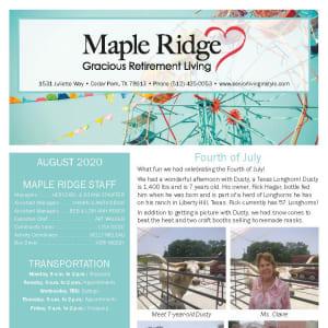 August Maple Ridge Gracious Retirement Living newsletter