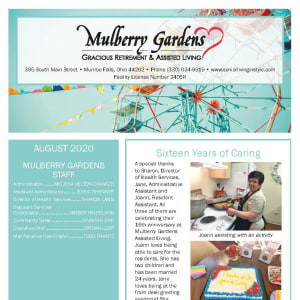 August Mulberry Gardens Assisted Living Newsletter