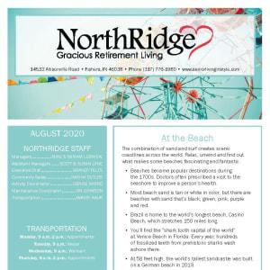 August Northridge Gracious Retirement Living newsletter