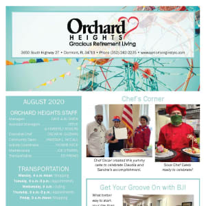 August Orchard Heights Gracious Retirement Living newsletter
