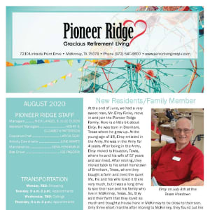 August Pioneer Ridge Gracious Retirement Living newsletter