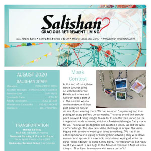 August Salishan Gracious Retirement Living newsletter