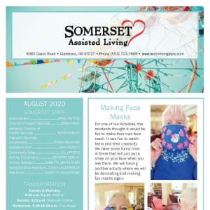 August Somerset Assisted Living Newsletter