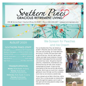 August Southern Pines Gracious Retirement Living newsletter