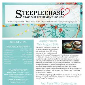 August Steeplechase Retirement Residence newsletter