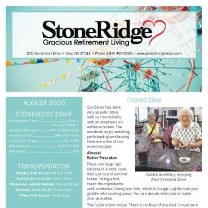 August Stoneridge Gracious Retirement Living newsletter