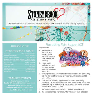 August Stoneybrook Assisted Living newsletter