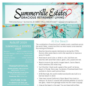 August Summerville Estates Gracious Retirement Living newsletter
