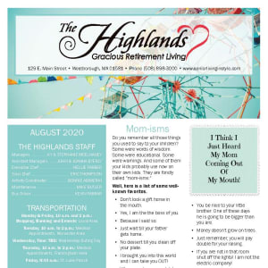August The Highlands Gracious Retirement Living newsletter