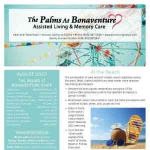 August The Palms at Bonaventure Assisted Living and Memory Care newsletter
