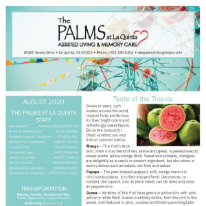August The Palms at La Quinta Assisted Living and Memory Care newsletter