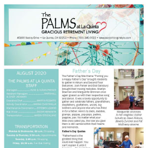 August The Palms at LaQuinta Gracious Retirement Living newsletter