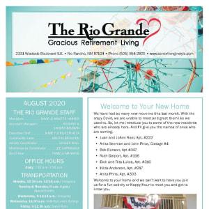 August The Rio Grande Gracious Retirement Living newsletter