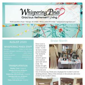 August Whispering Pines Gracious Retirement Living newsletter